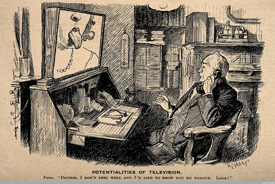 Cartoon: A doctor on the telephone, which is linked up via television to a patient, 1932