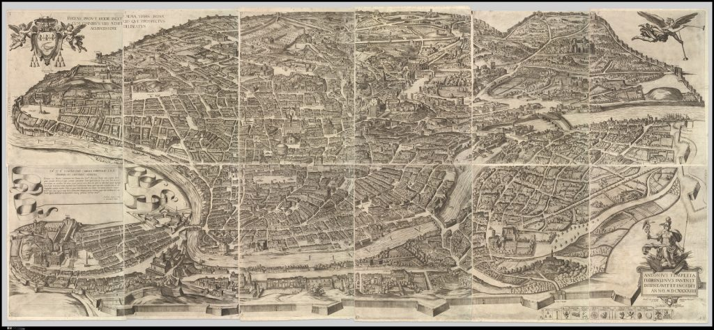 Antonio Tempesta's Map of Rome, 1645