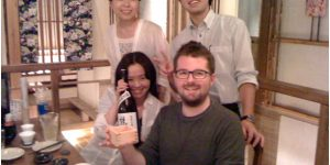 Robert with friends in Sendai on the evening of 4 June 2012.