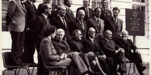 Victorian College of the Arts Founding Council, 1972, Dr Philip Law is pictured sitting at the far right of the front row.