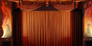 Photograph of stage curtain.