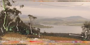 Micky Allan's 9 X 5: Early Morning near Maria Island [detail]. Pigment print, synthetic polymer resin, collage on rag paper.