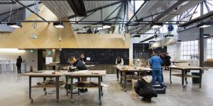 The central construction area with an overhead office. Photographer: Ben Hosking.