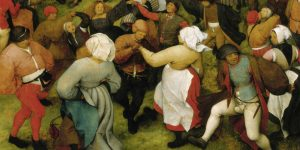 """Mass participation in Flemish Pieter Bruegel's 1566 painting """"The Wedding Dance"""" (cropped)"""