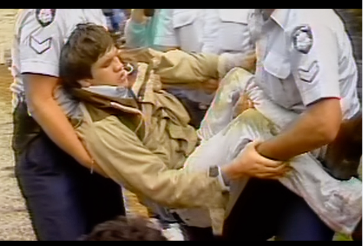 Arresting a protester, screenshot from Defiant Lives. Image courtesy of Fertile Films.