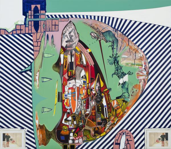Gareth Sansom, Bates Motel (2011). Oil and enamel paint and inkjet print on canvas, 198.0 x 228.6 cm