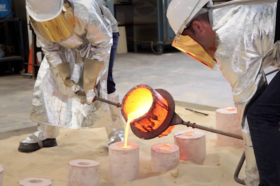 Dr Tim Edwards casting bronze in the Teaching Workshops. Still from video by Markus Stone.