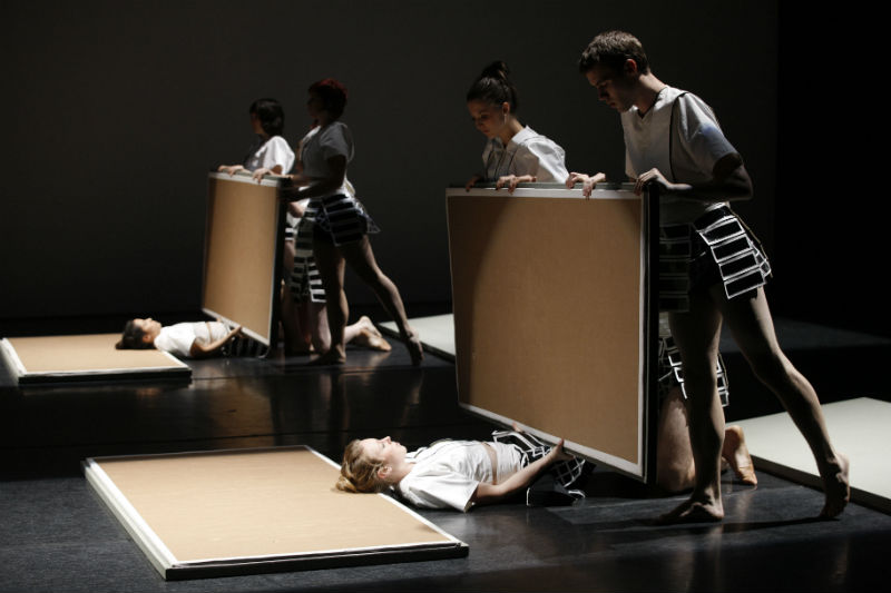 Origami, choreographed by Phillip Adams. Foreground dancers: Rebecca Jensen, Rachgel Perica, Rennie McDougall. Image by Jeff Busby, 2009.