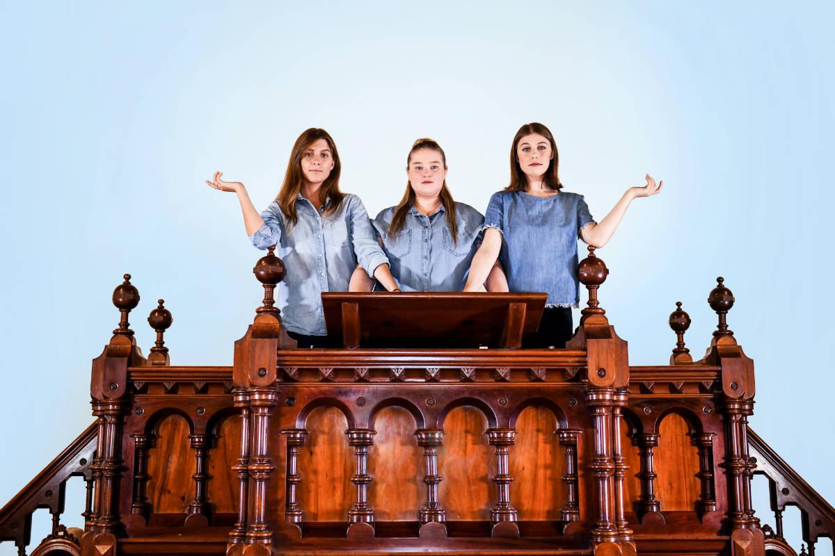 Performers Hannah Kostros, Emily Leaver, and Jordan Auld. Image by Giulia McGauran.