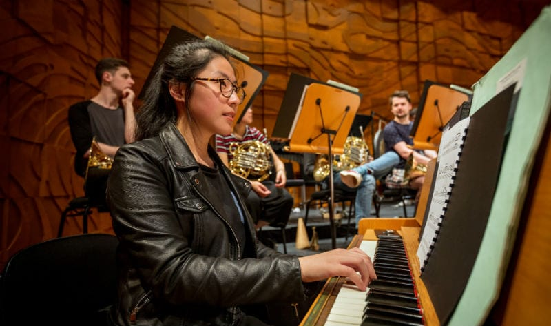 Pianist and celeste player Danna Yun rehearsing at the Melbourne Recital Centre. Photo by Sav Schulman.