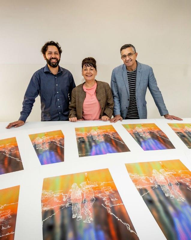 Trent Walker, Head of VCA Art Kate Daw, and VCA Director Jon Cattapan. Photo by Sav Schulman.