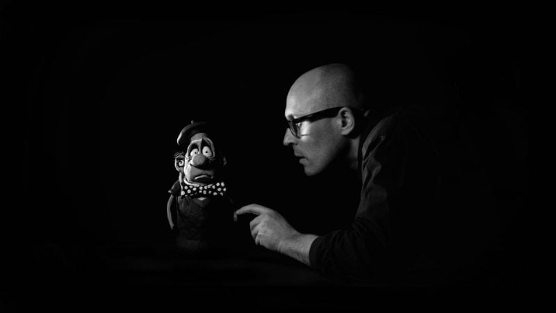 Adam Elliot with his claymation character Ernie