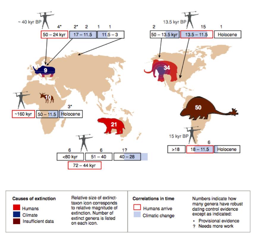 Megafaunal extinctions worldwide