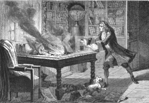 An 1874 painting of the fire in Newton's room which destroyed papers that took him 20 years to write, which may have included some of his work on alchemy. (Wikimedia Commons PD-ART)
