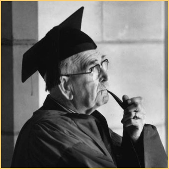 Portrait of Professor Bowman in academic regalia with a pipe