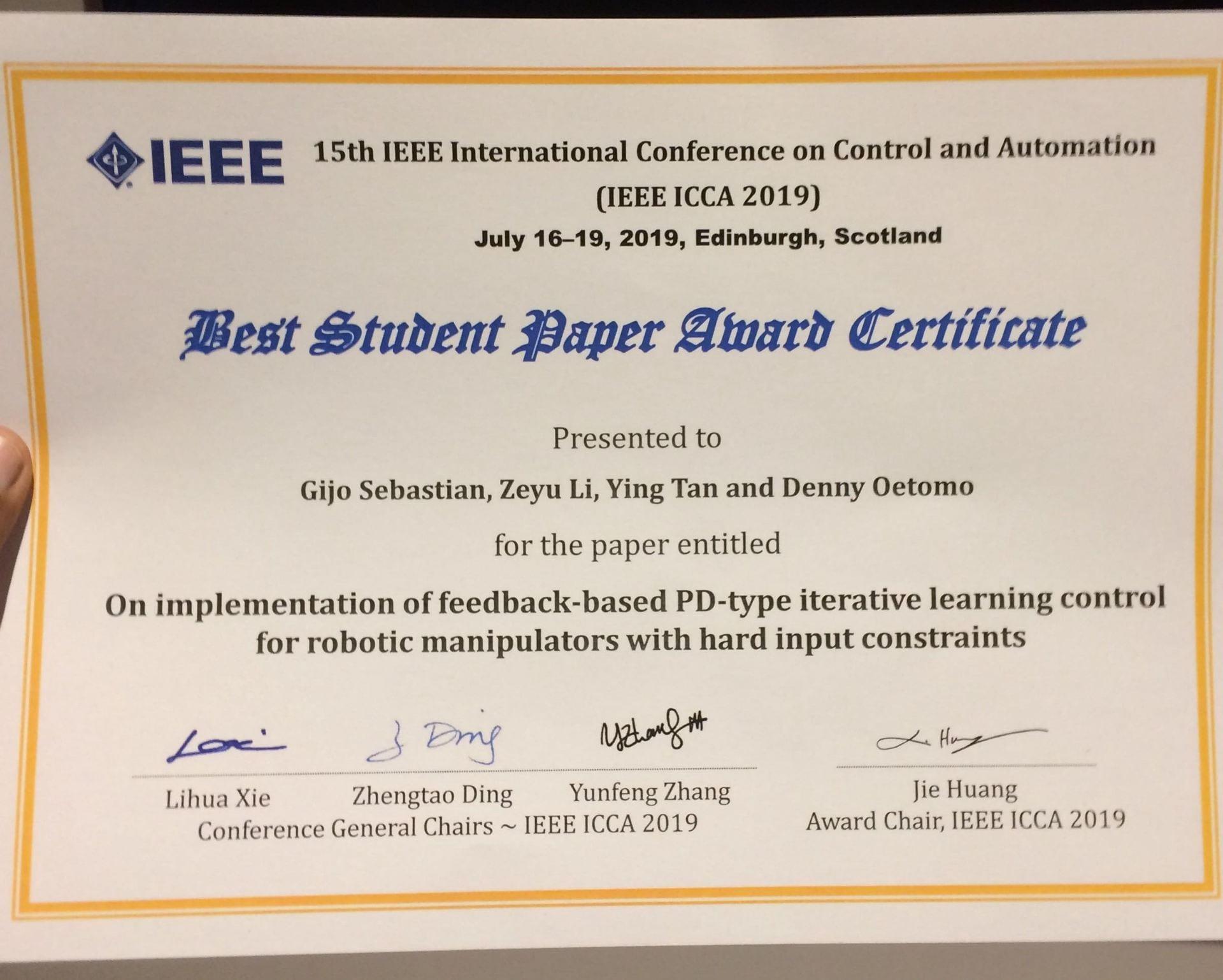 Gijo Wins Best Student Paper Award   Human Robotics Laboratory