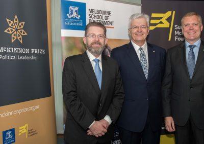 Senator the Hon Scott Ryan, University of Melbourne Vice-Chancellor Glyn Davis and the Hon Tony Smith MP