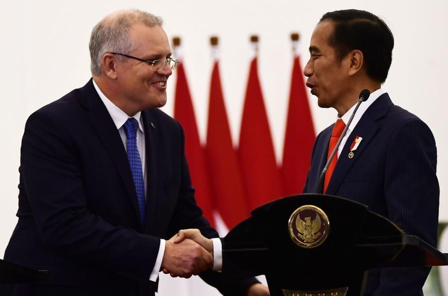 Australia's Prime Minister Scott Morrison with Indonesia's President Joko Widodo. Picture: Getty Images