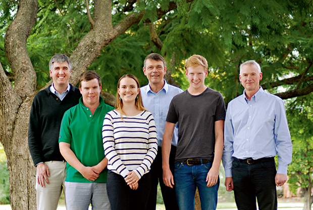 From left to right: Andrew Fisher, Professor of Cattle and Sheep Production Medicine; Nicholas Minogue (B.Ag); Eloise Culic (B.Ag); Professor Ken Hinchcliff, Dean of the new Faculty of Veterinary and Agricultural Sciences; George Reid (B.Ag) and Associate Professor Brian Leury, Head of the Department of Agriculture and Food Systems, Dookie.