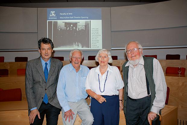 FROM LEFT: Professor Mark Considine, Dean of Arts, Mr Arthur Huck, Mrs Jenny Ellis (Mcmahon Ball's daughter) and Professor Brian Ellis.