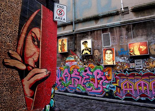 Hosier Lane, Melbourne. Credit: Shepard Fairey in Hosier
