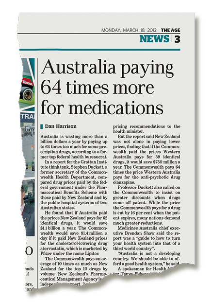 Australia paying 64 times more for medications