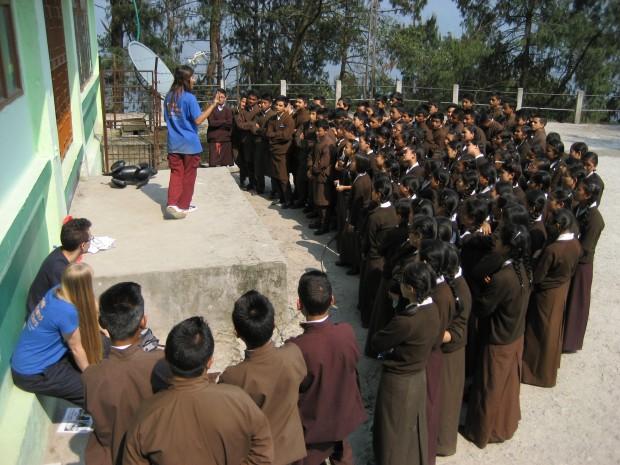 Aashima Auplish speaking to school students in Sikkim.