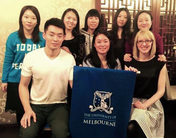 Jessie Wong (centre) with the University of Melbourne Alumni Association (Beijing).