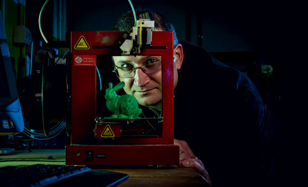 Amazing potential: Bernard Meade in the University's 3D workshop. Picture: Chris Hopkins