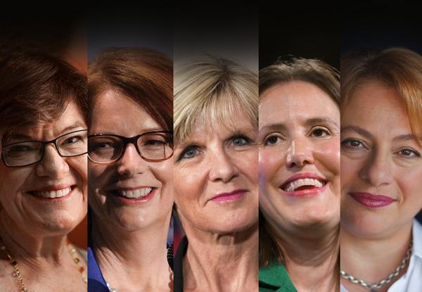 Women of influence: Cathy McGowan, Julia Gillard, Julie Bishop, Kelly O'Dwyer and Sophie Mirabella