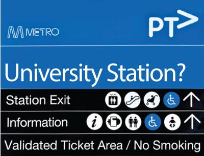 'University' station sign