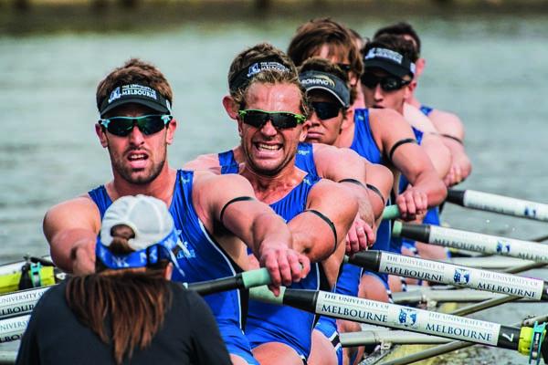 Melbourne University men's rowing team in action