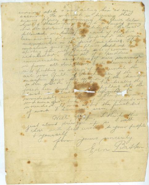 Letter from EJ Batten, 1918