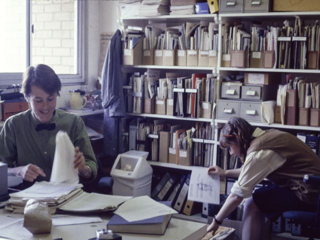 Photograph (digital reproduction of slide) Denise Robinson and Vivienne Shark Lewitt working in George Paton Gallery Office George Paton Gallery Collection, 1990.0144 SL/6,292 University of Melbourne Archives Denise Robinson (May 1982-Jan 1986) went on to be the founding Director of Artspace in Sydney