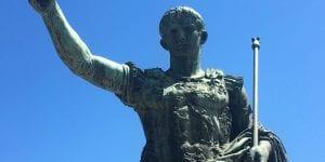 Twentieth-century bronze statue of the Roman Emperor Augustus, erected by Mussolini, Via dei Fori Imperiali, Rome, 2018. Photograph © Donna Storey