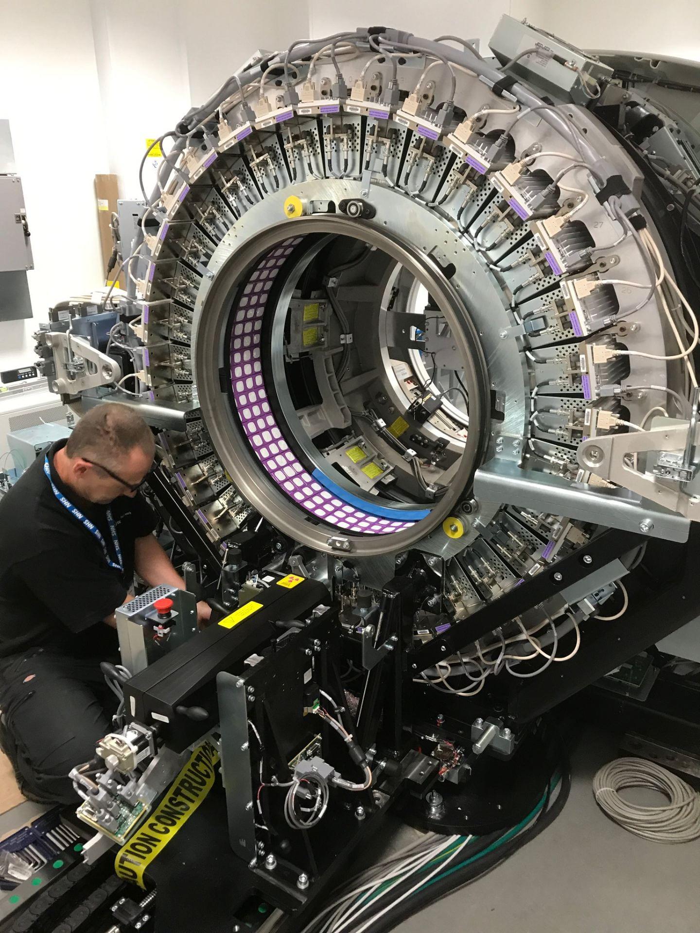 Inside a Positron Emission Tomography (PET) scanner.