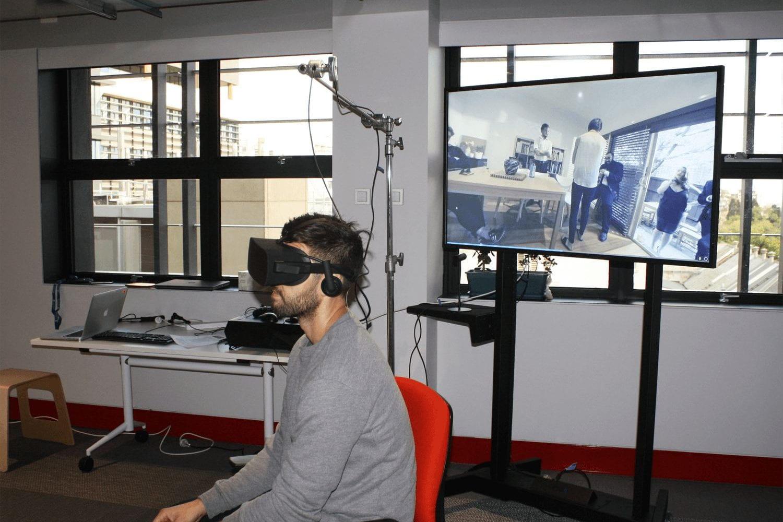 Man wearing VR HMD