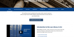 Screenshot of the Legal Research Videos Series homepage