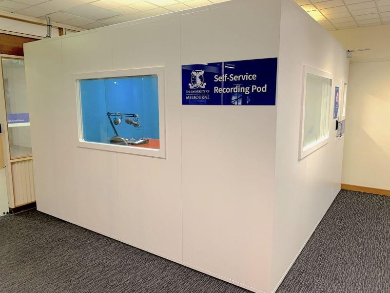 Self-service recording pod in the Baillieu Library.