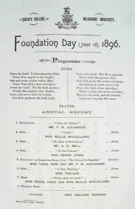 Foundation Day Programme 1896 Program