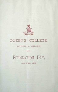 Foundation Day Programme 1901 Program front cover