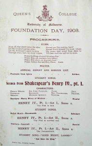 Foundation Day Programme 1903 Program