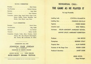 The Game as He Played It 1958 Program
