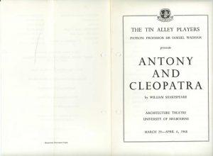 Antony and Cleopatra Program Cover