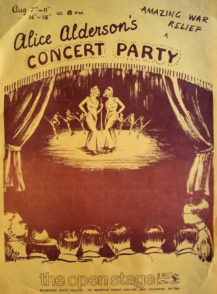 Alice Alderson's Amazing War Relief Concert Party 1979 Poster