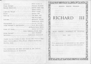 Richard III Program #1