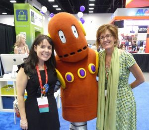 Linda Yollis and Kathleen Morris with Moby from BrainPop
