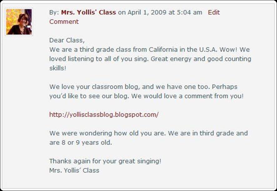 First comment that Linda Yollis left on Kathleen Morris' blog