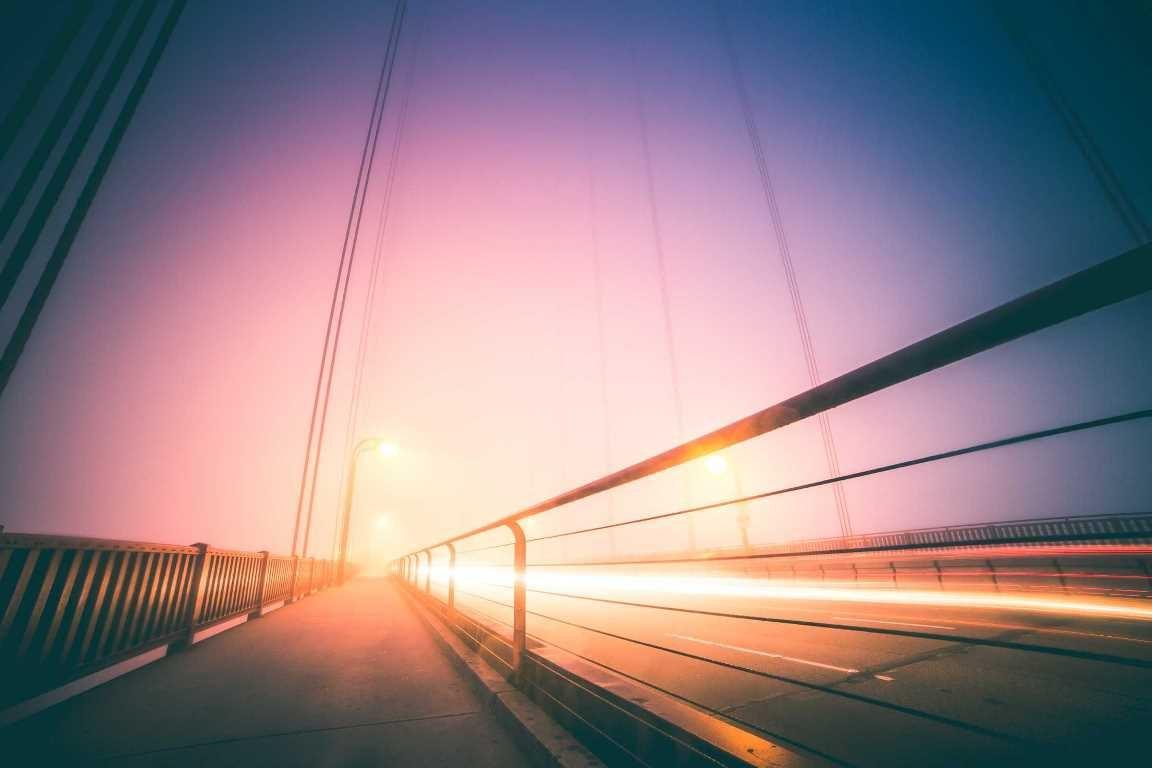 Lights on a bridge at night