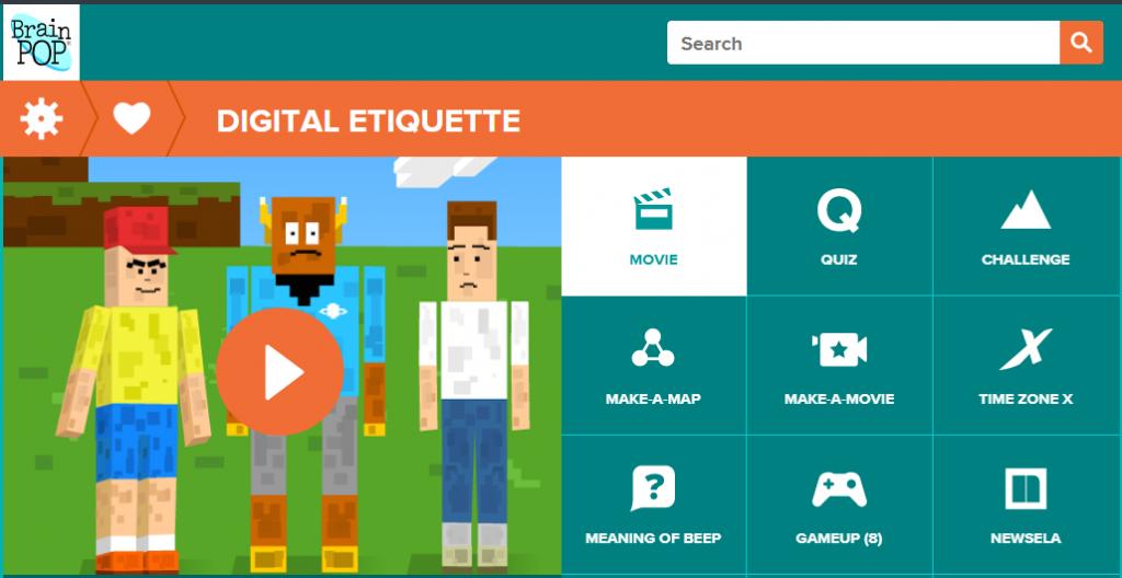Screenshot of BrainPOP's digital etiquette activities and video